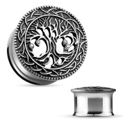 Blue Palm Jewellery - Plugs Adult Pair of 00 Gauge(10mm) Tree of Life Face 316L Surgical Steel Double Flare Tunnel FE22