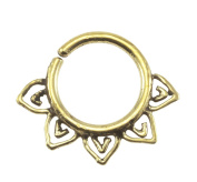 "Brass Floral Design 18G Septum Ring - 7mm (0.3"") Inner Hoop with Adjustable Opening - Street Habit Jewellery"