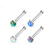 """Blue Palm Jewellery - Nose Adult 4 - 20 Gauge 1/4"""" 2.5 mm Synthetic Opal Gem Ball Nose Studs Bones Stainless Steel Rings N74"""