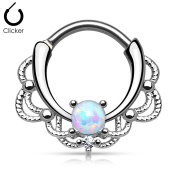 KULTPIERCING Nose Ring Septum Piercing Nose Clicker Tribal with Opal