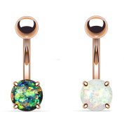 Blue Palm Jewellery - 2 - Synthetic Dark Green and White Opal Glitter Prong Set Rose Gold IP Surgical Steel Belly Button Ring B531