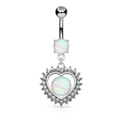 Blue Palm Jewellery - Crystal CZ Paved Heart Synthetic Opal Glitter Dangle Surgical Steel Belly Button Navel Rings B537
