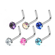 Blue Palm Jewellery - Nose Adult 6 Pcs Of Assorted 18 Gauge 2Mm Round Prong Set Cz Top 316L Surgical Steel L Bend Nose Ring N55