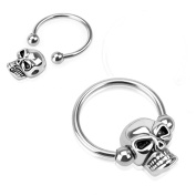 Blue Palm Jewellery - Nipple Adult Pair Of 14 Gauge 1/2 Inch 4Mm Ball Nipple Ring Skull Bead 316L Surgical Steel Captive C260