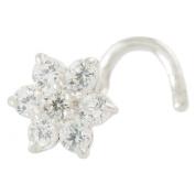 Piercingline Spiral Nose Stud with 5 mm Crystal Flower, 18 K White Gold