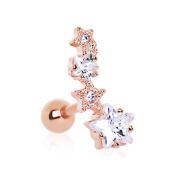 eeddoo® Rose Gold Steel Earrings – Shooting Star Crystal Ear Piercing Stud Earrings Hoop Earrings Earring Jewellery For Men And Women Red Gold Rose)