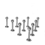 10 pcs Internal Threaded Labret Lip Rings Surgical Steel Piercing Jewellery 16G 8mm Vcmart