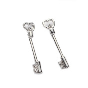 Vcmart 1Pair 14G 316L Surgical Steel Clear CZ Crystal Heart Key Nipple Rings
