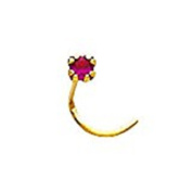 FranceBijoux Nose Stud 2 mm, Red, 18 Carat Yellow Gold, 0.07 g