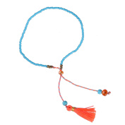 KELITCH Jewellery Blue Beads Chain Crystal Stone Thin Rope Bracelet with Orange Tassel