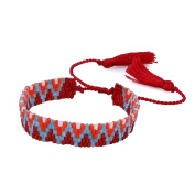 KELITCH Wave Pattern Seed Bead Woven Friendship Bracelet with Tassel - Red
