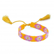 KELITCH Flower Pattern Seed Bead Woven Friendship Bracelet with Tassel - Yellow
