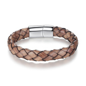 Stainless Steel Clasp Vintage Brown Braided Leather Bracelet with Gift Box 21.5cm