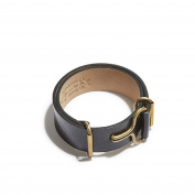 Giles & Brother Men's Antique Brass Wide Black Leather Visor Cuff