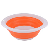 sourcingmap® Plastic Home Outdoor Portable Folding Collapsible Wash Basin Water Container Holder Orange