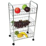 3 Tier Chrome Fruit Vegetable Rack W/wheels Storage Stand Cart Trolley Kitchen