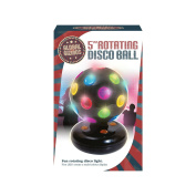 Global Gizmos 13cm Inch Battery Operated Rotating LED Disco Ball. Plastic, Black