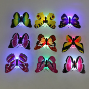 Bedside Bedroom Living Room Adhesive Night Lights Butterfly Wall Decor Ornament Battery Powered Lamp