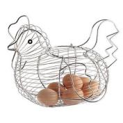 Basket Hen For Eggs Chrome Plated Chicken Hen Shaped Wire Egg Storage Basket