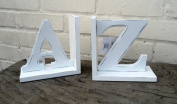 "Shabby Chic Style ""A to Z"" Bookends - Ivory painted wood finish"