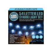 Global Gizmos 20-LED Alphabet Message String Light with 54 Interchangeable Letters, Transparent