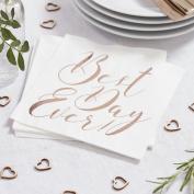 Rose Gold Best Day Ever Paper Wedding Napkins - Beautiful Botanics Range X 20