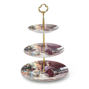 Panbado Bone China 3 Tier Ceramic White Cake Stand Porcelain 15cm & 20cm & 25cm Party Food Display Set Dessert Stand Slate Serving Set,Attic Lady Oil Painting Figure,Muti-colour,with Golden Carry Handle