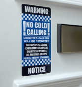 No Cold Calling Warning Notice Door Sticker - 7cm x 14.5cm UV Laminated