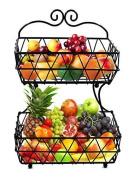 Esylife 2 Tier Black Metal Bread Basket Fruit Basket Rack Stand