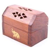 Sheesham Wood Mini Incense Burner Box - Elephant Inlay