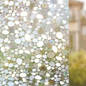 Rabbitgoo Privacy Window Film Decorative Window Film Static Cling Window Film 90cm . by 200cm . 3D Pebble Glass Film for Home Kitchen Bedroom