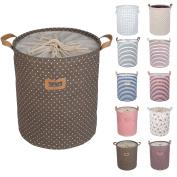 Dokehom Dka0811bn Round Drawstring Cotton Linen Collapsible Storage Basket,...
