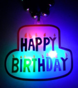 """33"""" 7MM Gold with Happy Birthday Cake Light Up Necklace"""