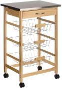 Kitchen Island Trolley Cart Stainless Steel Wood Metal Storage Basket Home New