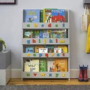 Tidy Books® - The Original Children's Bookcase in Pale Grey with Retro Colour Alphabet - Front Facing Bookshelf - Perfect Children's Book Storage 115 x 77 x 7 cm