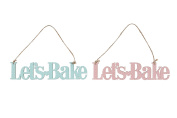 Let's Bake hanging pink or blue dotty sign plaque decoration