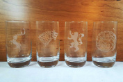 Game of Thrones Inspired - Set of 4 Glasses - 4 Main House Sigils