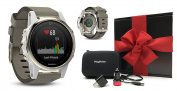 Garmin fenix 5S Sapphire (Champagne with Suede Band) GIFT BOX Bundle | Includes Multi-Sport GPS Fitness Watch with Wrist-HR, Extra Band (White), PlayBetter USB Car/Wall Adapters, Protective Case