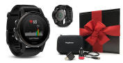 Garmin fenix 5S Sapphire (Black with Black Band) GIFT BOX Bundle | Includes Multi-Sport GPS Fitness Watch with Wrist-HR, Extra Band, PlayBetter USB Car/Wall Adapters, Protective Case | Gift Box