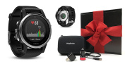 Garmin fenix 5S (Silver with Black Band) Ultimate Gift Box | Includes Multi-Sport GPS Fitness Watch with Wrist-HR, PlayBetter USB Car & Wall Adapter, Hard Carrying Case | Black Gift Box