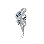 Merdia Created Crystal Fancy Vintage Style Brooch Pin for Women, girls, ladies, Blue colour