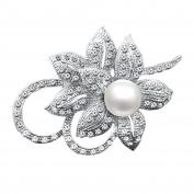 Merdia Classy Flower Brooch Pin with Shiny Created Crystal and Created Pearl for Christmas wedding or prom