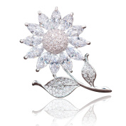 Hanie Sunflower Brooch Silver Tone White Round and Marquise Crystal