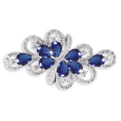 Hanie Luxus Blue Sapphire Colour Pear and White Round Cubic Zircon Silver Tone Flower Brooch