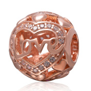 """Rose Gold Plated Heart """"Love"""" Clear CZ 925 Sterling Silver Charm for European Charms Bracelets-Shining Charm"""
