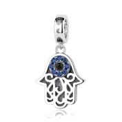 Eye of Evil Blue CZ 925 Sterling Silver Charm Hamsa Hand Fit European Bracelet By SparklingJewellery