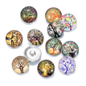 Soleebee 12pcs Mixed 18mm Glass Aluminium Snap Buttons Jewellery Charms DIY Accessories - Tree of Life 11
