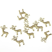 Wholesale x 10 reindeer silver metal fun quirky charms 2cm Christmas winter pendants