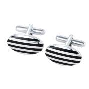 DonDon Men's Striped Oval Cufflinks In Silver-Black Velvet Gift Bag