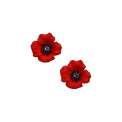 The 4 Petal Poppy Collection, Enamel Rhodium Plated Small Clip Earrings set with Crystal